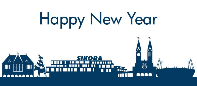 Bremen Skyline with SIKORA building behind falling snowflakes